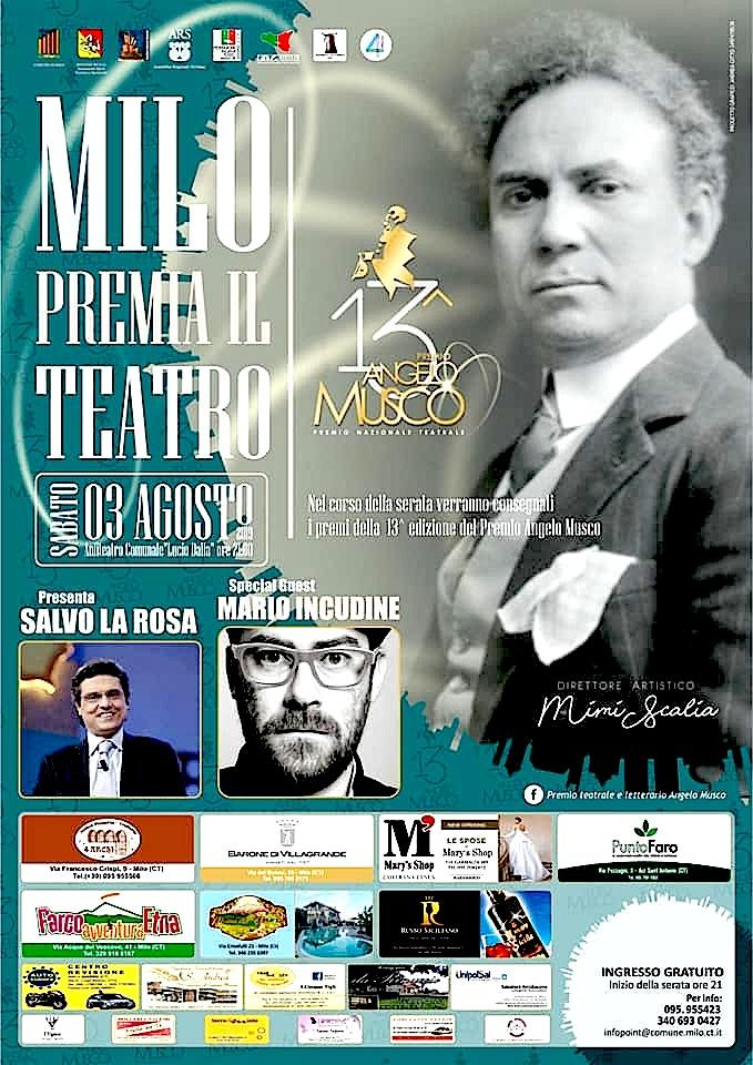 """Milo A.- Premio """"Angelo Musco""""-LOCANDINA"""